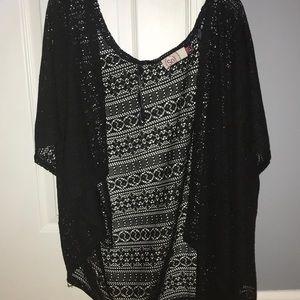 Black Short Sleeve Lace Cardigan
